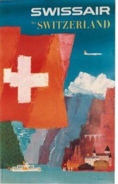 vintage poster SWISSAIR ABOVE LAKE & ALPS 1958