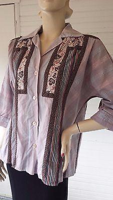 Vintage-VTG-70s-Designer-Koos-van-den-Akker-Cotton-Fabric-Collage-Shirt-Top-M
