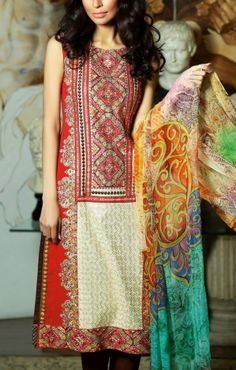 Red/BrownEmbroidered Cotton Lawn Salwar Kameez