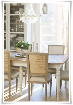 great dining room chairs and table - with mandatory chandelier