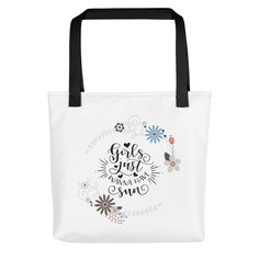 Excited to share the latest addition to my #etsy shop: Tote bag Girls want fun https://etsy.me/2LHQtK6 #bagsandpurses #totebag #bag #casualbag #cottonbag #pocket #flowers #girls #text