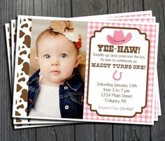 Cowgirl Birthday Invitation  FREE Thank You by ForeverYourPrints, $15.00