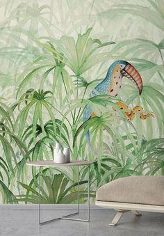 Wallpaper Mural Tricks: How to Choose and Install Bold Wallpaper, Tropical Wallpaper, Colored Ceiling, Piece A Vivre, Wall Finishes, Inspiration Wall, Pop Art, 3d Wall, Home Interior