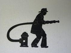Fireman with Firehose and Hydrant Firefighter Decor Metal Wall Art Metal Artwork, Metal Wall Art, Fireman Quilt, Wall Drawing, Lion Drawing, Framing Canvas Art, Daniel And The Lions, Firefighter Decor, Fire Department