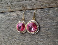 Pink Crystal Earrings Swarovski Rhinestone Dangle on Silver or Gold French Wire Hook by haileyallendesigns