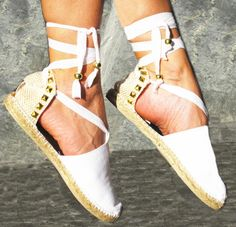 IBIZA Studded Lace Up Women Espadrilles Organic by IBIZENCAS  #laceup #espadrilles #bride #ballerinas #hippie #wedding #sandals #shoes #bridal  #ibizencas #party #beach #bohochic #boho #style #trendy #blog