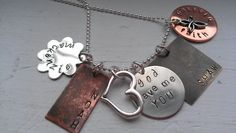 GOD gave me you handstamped mixed metal family necklace mothers day gifts. $68.00, via Etsy.