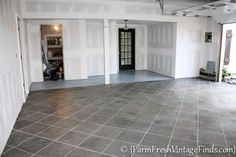 Tired of looking at your ugly garage floor? Want it to be a beautiful space just like the rest of your home? How to Pimp Your Garage Floor {On a Budget} - Farm Fresh Vintage Finds Garage House, Diy Garage, Garage Ideas, Garage Shop, Garage Man Cave Ideas On A Budget, Garage Boden, Concrete Garages, Concrete Patios, Basement Bar Designs
