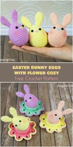 Easter Bunny Egg Free Crochet Patterns - You can not decide whether make bunnies or eggs for Easter gifts? Pick these adorable bunny eggs! Every kid and grown-up will love such adorable and. Easter Bunny Crochet Pattern, Crochet Animal Patterns, Crochet Patterns Amigurumi, Crochet Toys, Crochet Crafts, Crochet Projects, Crochet Ideas, Crochet For Easter, Crochet Egg Cozy