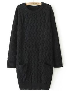 Black Long Sleeve Diamond Patterned Pockets Sweater US$32.46