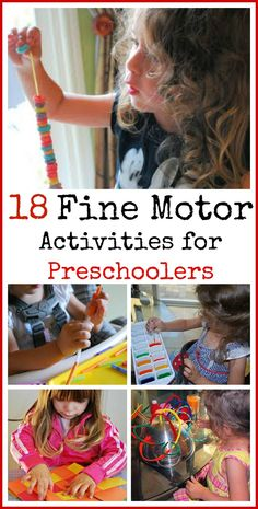 18 Fine Motor Activities for Preschoolers  Pin It - Pinned by @PediaStaff – Please Visit  ht.ly/63sNt for all our pediatric therapy pins