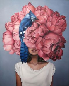 """Artist: Amy Judd """"Jay Girl"""" """" """"Almost finished! Detail of """"Jay Girl"""" …."""" """"Very Excited! """"Blue Jay Girl"""" part of the new collection to be shown in a solo show at @hicksgallery … show opens 24th May."""