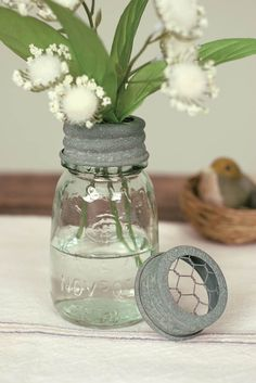 """1/4 Pint Mason Jar with Chicken Wire Flower Frog Lid in Barn Roof. Size: 2 1/4""""x 4"""""""