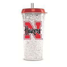 Nebraska Huskers 16oz Crystal Freezer Travel Tumbler w/Straw