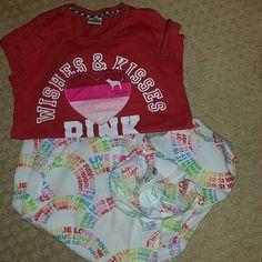 VICTORIA SECRET PINK LOUNGE SET Bundle top and bottom, classic loungwear PINK Victoria's Secret Other