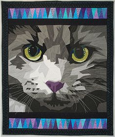 Crete, a shelter cat, by Lisa Fryxell.  Original design, paper pieced. Posted at Quilters Club of America
