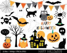 Halloween Clipart, Haloween Owl Clip Art, Bunting Spider Pumpkin Witch Haunted Ghost Spooky Bat - Commercial & Personal - BUY 2 GET 1 FREE! by mintprintables on Etsy https://www.etsy.com/uk/listing/203680250/halloween-clipart-haloween-owl-clip-art