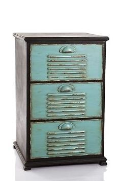 INDUSTRIAL / VINTAGE STYLE BEDSIDE TABLE - BLACK FRAME WITH TEAL DRAWERS