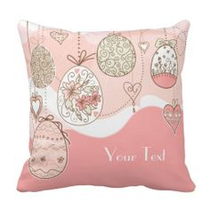 Sweet Elegance Easter Eggs Pillow with customizable text.