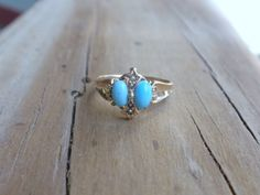Victorian Turquoise & Pearl Ring 10k by LuceesTreasureChest