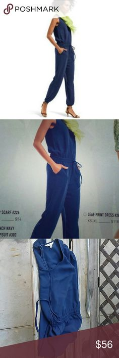 "CAbi French Navy Blue JumpSuit Zipper on the back. Bust 17"", Inseam 28"" & waist 14, across.  Has 2 side pockets and elastic waist. CAbi Pants Jumpsuits & Rompers"