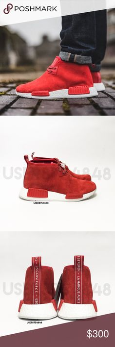 Adidas NMD 'Crimson Red' Chukka Sneaker If you leave a rude comment about the price, you will be BLOCKED!  NO TRADES  The NMD_C1 by Adidas innovates the already popular sneaker with high-fashion influences featuring a distressed lush red suede in a chukka boot silhouette.  Content & Care  - Suede, mixed - Wipe clean - Imported  NOTE: - It's men's sizing, I converted them for women's. They are technically unisex - M5/W6; M5.5/W6.5 - Pic 1 from IG. 2-4 photographed by me, don't copy. Item's…