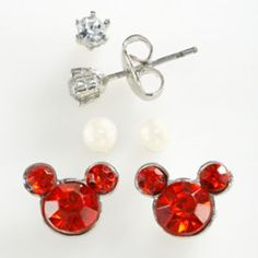 Disney Mickey Mouse Silver Tone Simulated Crystal & Simulated Pearl Stud Earring Set