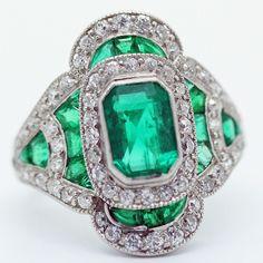 Art Deco Belle Epoque Ring Platinum Emeralds Diamonds Tiffany & Co