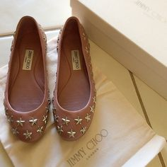 Jimmy Choo Western Flats 38 Almost new, worn only once for short time. Jimmy Choo Western flats, super soft nappa leather, beige- pink. Silver metal star studs and brand plates on the back. Rubber sole and leather inner. 100% authentic, bought from JC boutique in south coast plaza. Dust bag and box included. Paid 495 plus tax. In size Italy 38, I'm usually 38-38.5, these are very comfortable, but a bit too short for my feet. No PayPal and other sites, and willing to sell only. Jimmy Choo…
