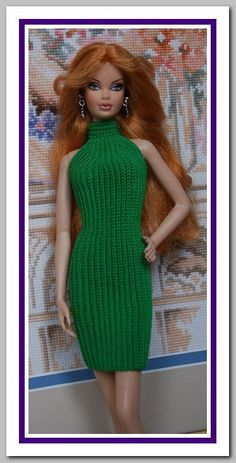 Barbie basics Green Crochet Dress - made by crocheting up and down, increase at front add neck band. Barbie Patterns, Doll Clothes Patterns, Clothing Patterns, Knitted Dolls, Crochet Dolls, Barbie Basics, Crochet Barbie Clothes, Barbie Dress, Barbie Doll