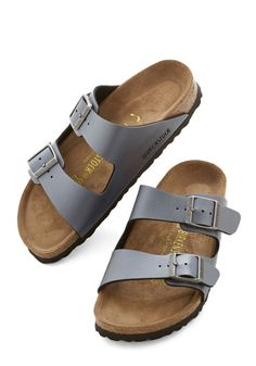 Strappy Camper Sandal in Pewter. After your biggest backpacking achievement to date, you deserve to slip out of those hiking boots and rest your feet on the classic beds of these Birkenstock Arizona sandals! #grey #modcloth