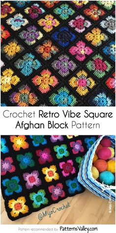 Crochet Retro Vibe Square Afghan Block Pattern by PatternsValley Crochet Granny Square Afghan, Granny Square Crochet Pattern, Crochet Blocks, Afghan Crochet Patterns, Knit Or Crochet, Crochet Motif, Crochet Stitches, Free Crochet, Crochet Afghans