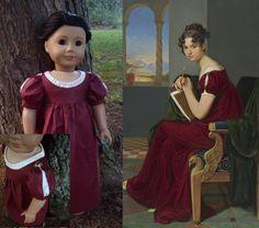 1810's Burgundy Regency Portrait Dress Replica for American Girl Doll - by Morgan May @ Stardust Dolls - http://www.stardustdolls.com
