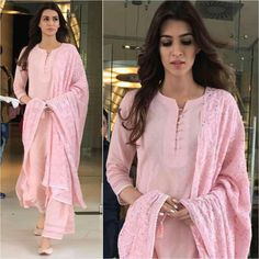 Kriti Sanon Outfit & Juttis - Styled by -sanon # beautiful # pink # simple palazzo and kurtaDress Casual Pink Simple For may contain: 2 people, people standingFind dresses for first date. Choose from top 10 first date look ideas and buy you Designer Kurtis, Indian Designer Suits, Punjabi Suits Designer Boutique, Boutique Suits, Pakistani Dresses, Indian Dresses, Indian Outfits, Mode Bollywood, Bollywood Fashion