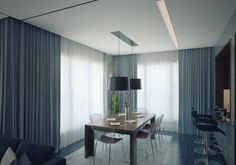modern apartment dining room and large grey curtain