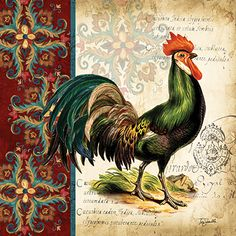 RB7738TS / Suzani Rooster I / Tre Sorelle Studios