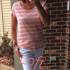 Loft top Loft striped tee. Very comfy. 100% linen rand new LOFT Tops