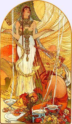 Mucha, vienna secession, vintage illustration, desert, art nouveau, fin de siecle, turn of the century, arts and crafts movement, nature, illustration