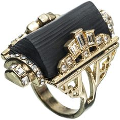 Alexis Bittar Teatro Moderne Gold Barrel Ring ($225) ❤ liked on Polyvore