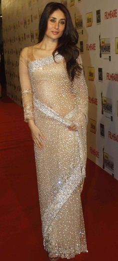 Kareena In Saree | Kareena Kapoor in Transparent Saree Photos Pics – White Red & Black