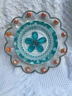 "Plate Flower, Vintage Glass, Garden Decor ""Moon River"" by FancysGarden on Etsy https://www.etsy.com/listing/252085048/plate-flower-vintage-glass-garden-decor"