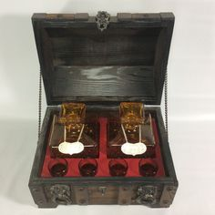 Wooden Pirate Chest Bar Ware Decor Decanters Glass Gin Rye Japan Made Vintage