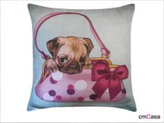 =cmCasa= 3486  Puppy In The Wallet  Throw Pillow Case/Cushion Cover