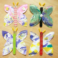 marbled paper plate butterfly craft, http://www.coolcrafts.com/butterfly-crafts/