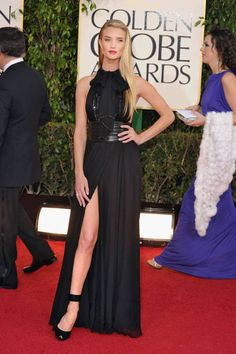 Rosie Huntington-Whiteley in jet black Saint Laurent, Golden Globes 2013