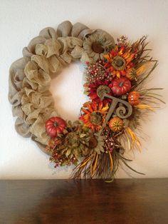 My fall burlap and deco-mesh wreath