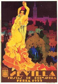 Sevilla Fiestas de Primavera Feria 1933 Flamenco Poster | eBay