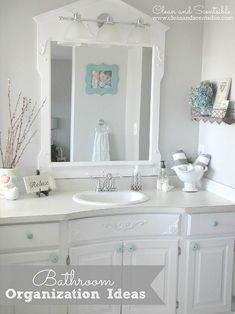 Bathroom Organization - The April Household Organization Diet.  Everything you need to get your bathrooms cleaned and organized!