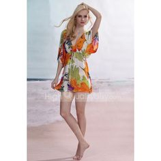 Summer Colourful Deep V-neck Polyester Beach Cover Up For Women - $11.85