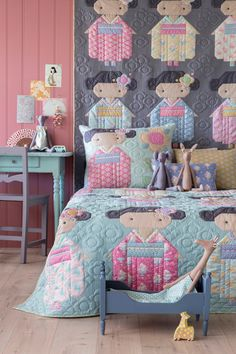 Free Pattern - ilovetilda,tildaaustralia-A room for full of Kimono Girls, and some cute little animal friends. The range of Tilda Friends dolls was on Girls Quilts, Baby Quilts, Zebras, Camper Fabric, Long Sleeve Kimono, Green Zebra, Cute Little Animals, Cool Fabric, Applique Quilts